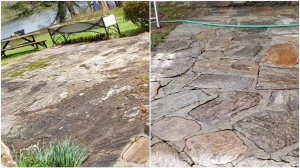 "A power washed patio in Stratford, CT. This area is subject to a lot of pollen and tree debris, but cleaned up well. Customer said: ""Thanks! What a huge difference!"""